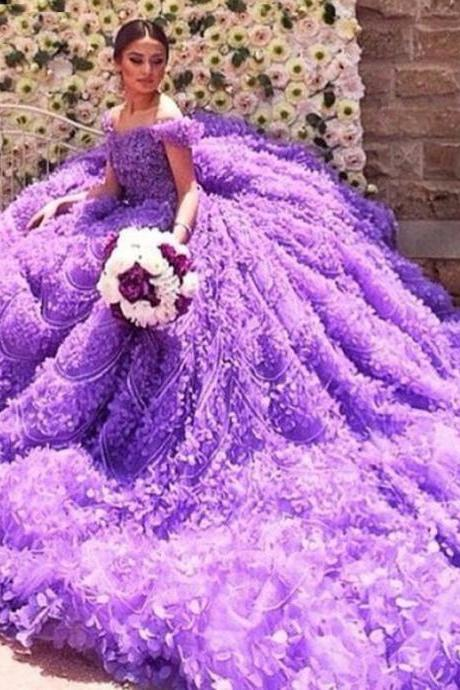 2017 Real Gorgeous Purple Ball Gown Luxury Scoop Off the Shoulder Beaded Crystal Flowers Wedding Dresses Back Lace-up Bridal Gown