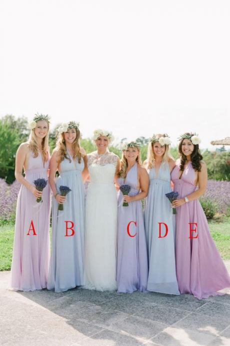 Top Selling Elegant A-line V-neck Long Chiffon Bridesmaid Dresses