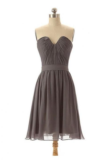Custom Made Grey Knee Length Ruched Sweetheart Neckline Chiffon Guest Wedding Dress, Bridesmaid Dress