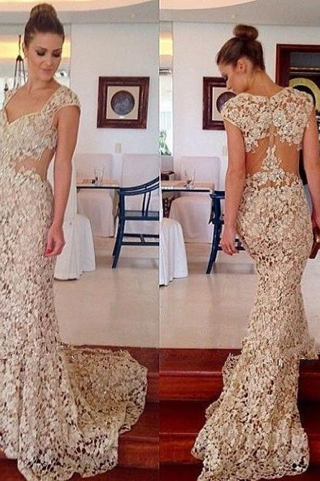 Prom Dresses,Lace Prom Dress,Champagne Prom Gown,Prom Gowns,Elegant Evening Dress,Modest Evening Gowns,Sexy Party Gowns,2017 Prom Dress