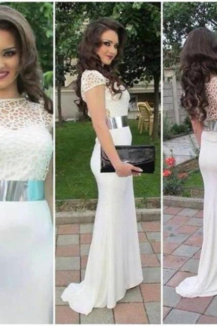 White Prom Dresses,Lace Prom Dress,White Prom Gown,Prom Gowns,Elegant Evening Dress,Modest Evening Gowns,Sexy Party Gowns,2017 Prom Dress