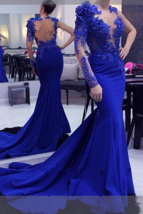 Mirusponsa Long Evening Dress 2017 Mermaid Abendkleider Lace Royal Blue Formal Evening Dresses Arabic Evening Gowns Women Robe De Soiree