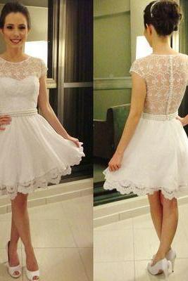 Lace Homecoming Dress,Tulle Homecoming Dress,Cute Homecoming Dress, Fashion Homecoming Dress,Short Prom Dress,White Homecoming Gowns,White Sweet 16 Dress