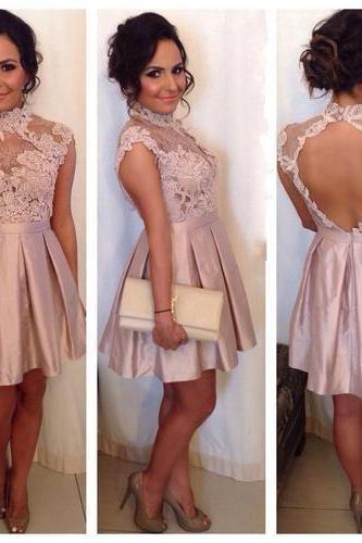 Prom Gown,Lovely Cute Prom Dress,Sexy Prom Dress,Prom Party Dress,blush pink lace Homecoming Dress,Sweet 16 Dress