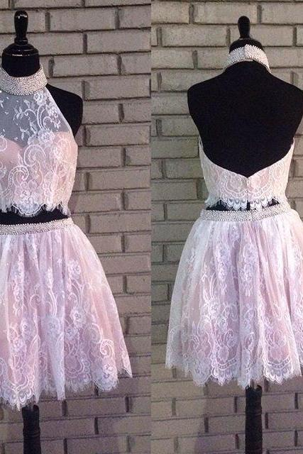 Two Piece Homecoming Dresses,Lace Homecoming Dresses,Nude Pink Short Prom Dresses,Halter Neckline Graduation Dresses, Top Beaded Homecoming Dresses, A-Line Homecoming Dresses,