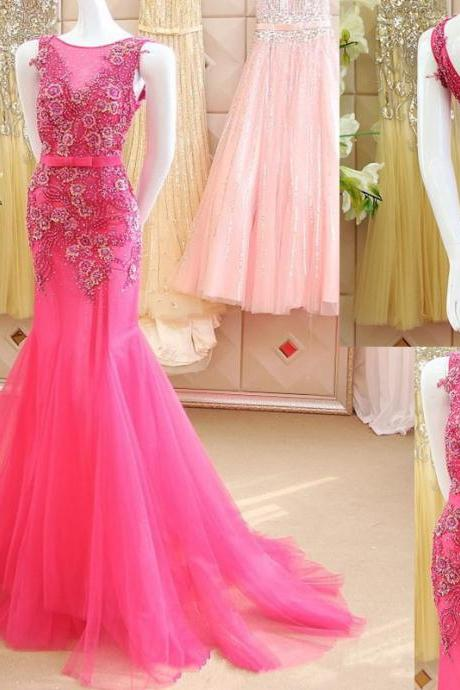 Prom Dress,Sexy Elegant Appliques Prom Dress,Mermaid Prom Dress,Luxury Prom Dresses,Flowers Prom Dress,