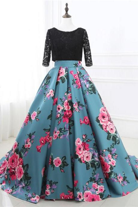 Mirusponsa Three Quarters Sleeve Party Dresses vestido de festa 2017 Prom Dresses Top Lace Floral Prom Dress Bodice Floral Evening Gown Mother of the Bride Dresses vestido longo