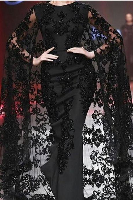 Black Kaftan, Mermaid Evening Dress, Black Evening Dress, Lace Evening Dress, Elegant Evening Dress, Modest Evening Dress, Applique Evening Dress, Long Evening Dress, Saudi Arabic Evening Gown