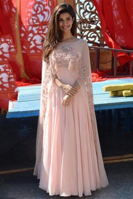2017 Elegant Light Coral Appliques Evening Dress Long With Cape Peach Chiffon Formal Gowns Indian Women Gown Long Dress Women Formal Party Dress
