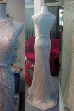 Luxury Crystal and Beaded Prom Dress,Mermaid Prom Dresses,Backless Long Prom Dress,Sleeveless Evening Dress,Formal Women Dress
