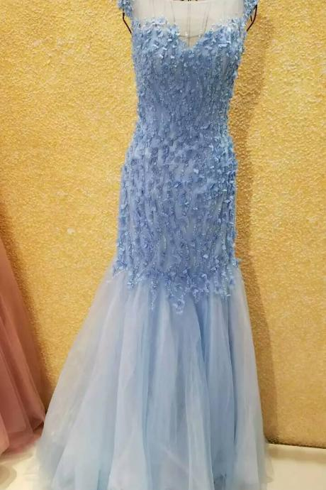 Blue Evening Dress,Mermaid Evening Dress,Evening Dress With Illusion Back ,Cap Sleeves Evening Dress,Evening Dress With Flowers,
