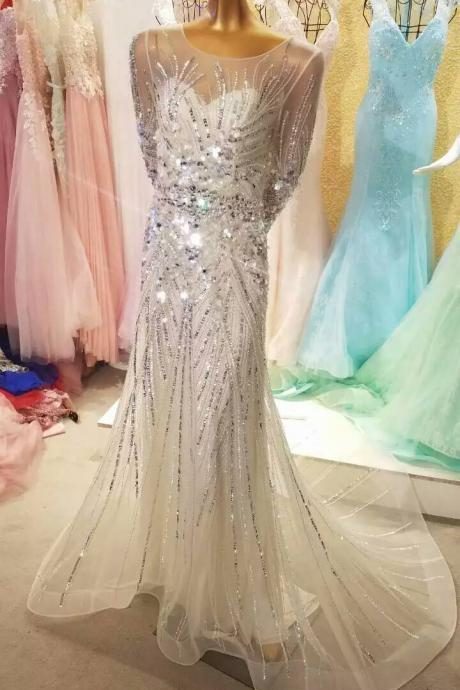 Shiny Evening Dress,Sequined Evening Dress,Crystal Evening Dress,Long Sleeves Evening Dress,Mermaid Evening Gowns,Luxury Evening Dress,Muslim Evening Dress ,Evening Dress With Court Train,