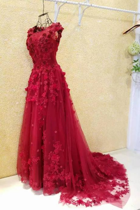 Burgundy Evening Dresses,A-line Evening Dress,Flowers Evening Dress,Applique Evening Dress,Lace Evening Dress,Cheap Evening Dress,Pearls Evening Dress,Evening Dress With Illusion Back,Gorgeous Evening Dress,Glamorous Evening Dresses,