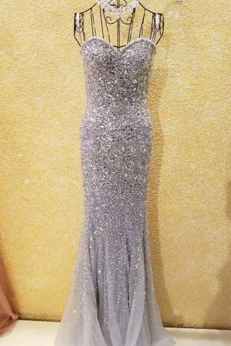 Luxury Evening Dress,Heavy Beaded Prom Dress,Mermaid Evening Dress,Sweetheart Neck Evening Dress,Long Evening Dresses,Tulle Evening Gown ,Gorgeous Evening Dress ,Sequined Evening Gown