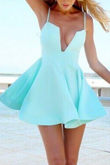 Light Blue Skater Dress,V-Neck Prom Dress,Pretty Homecoming Dress For Teens,
