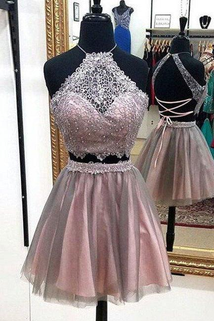 cute lace tulle short prom dress, cute homecoming dress cute homecoming dress Prom Dresses for Teens