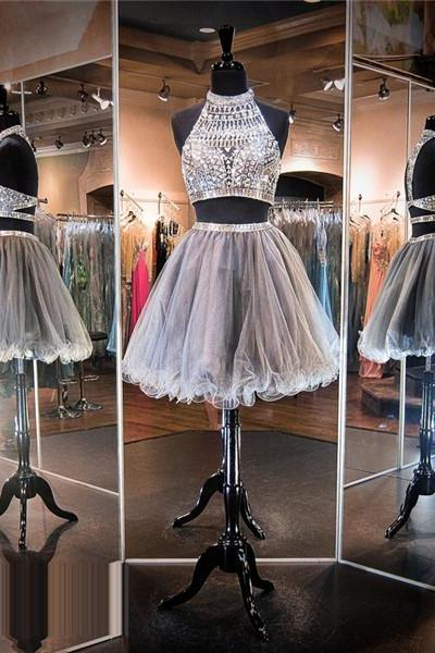Homecoming Dress,Luxury beads Silver Prom Dress,Short Homecoming Dresses,Junior Homecoming Dresses,Cheap PartyDress,2 Piece Prom Dress,Cheap Homecoming Dress, 8th Grade Prom Dress,