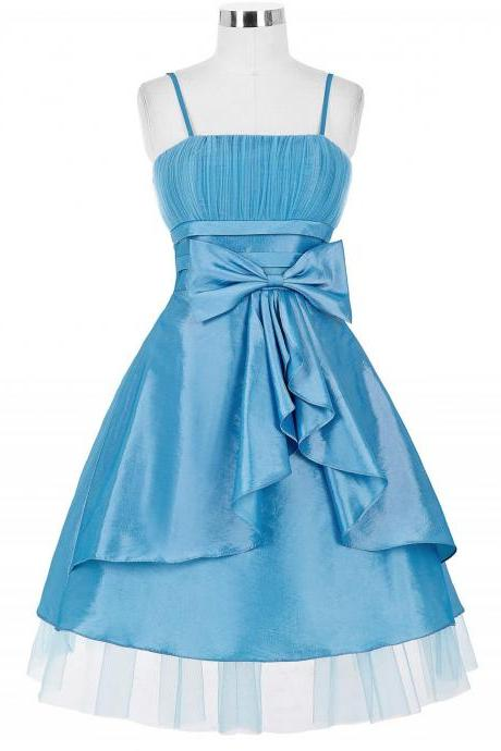 Spaghetti Straps A-line Satin Homecoming Dresses Bow Tie Women Dresses