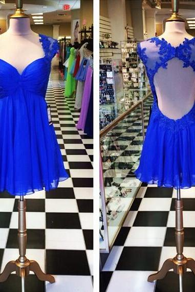Homecoming Dress,Royal Blue A Line Chiffon Prom Dresses Lace Keyhole Back Homecoming Cocktail Party Gowns Vestidos,Graduation Dresses,Wedding Guest Prom Gowns, Formal Occasion Dresses,Formal Dress