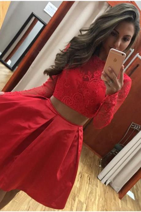 2 Pcs Homecoming Dress,Short Homecoming Dress with Sleeve,Sexy Prom Dresses,Mini Homecoming Dress,Red Homecoming Dress,Short Girls Homecoming Dresses,Short Cocktail Dress,Sexy Party Dresses,O- Neck Prom Dress,Two Piece Party Dress