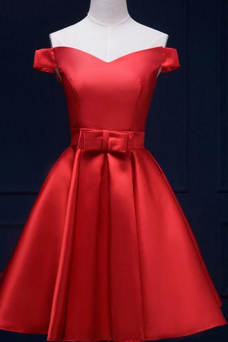 Red Short A-Line Evening Dress Featuring Square Neckline Bodice,Bow Accent Belt And Lace Up Back