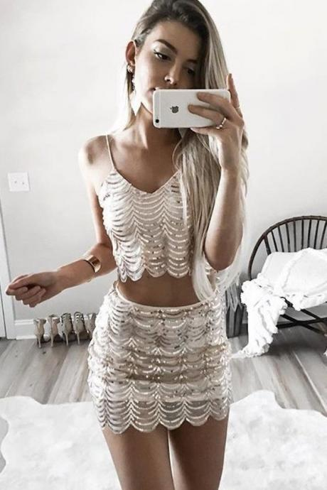 Sexy Two-Piece Spaghetti Straps Homecoming Dress With Sequins