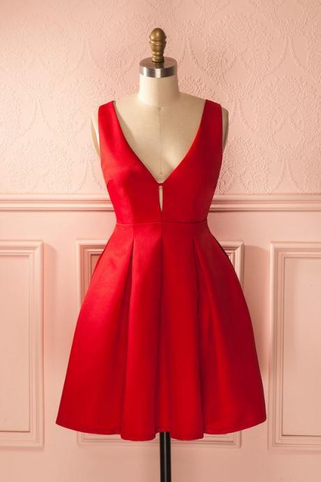 Prom Dress, Red Prom Gowns, Mini Short Homecoming Dress