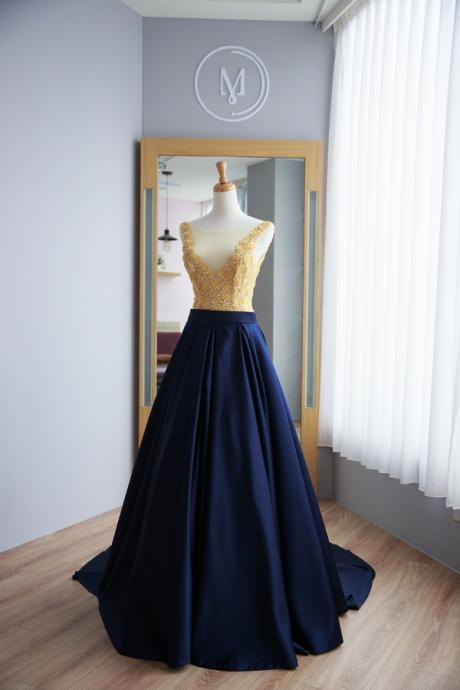Elegant Dark Navy Blue Prom Dress,Satin Prom Gown,Sexy V-back Graduation Dress