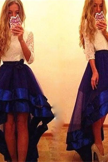 High Low Prom Dresses Ivory Lace Royal Blue Organza Prom Dresses O Neck High Low A Line Graduation Dresses Party with Half Sleeves Party Gowns
