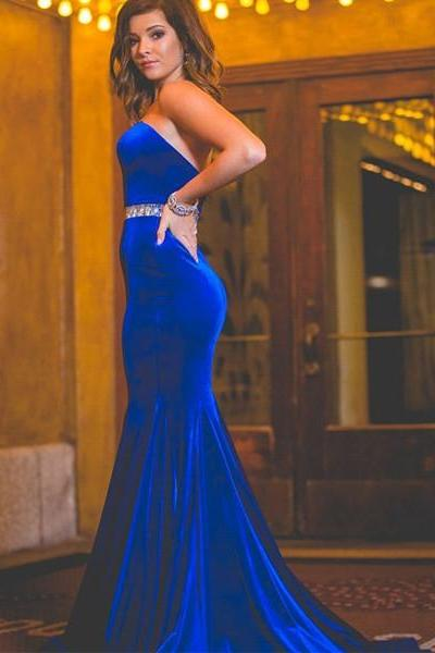 Strapless Evening Dress Custom Made Sleeveless Chapel Train Backless Beading Mermaid Evening Dress