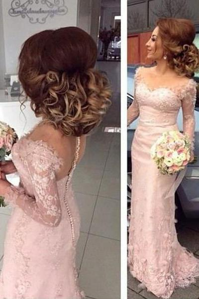 New Arrival Long Sleeve Pink Lace Appliques Mermaid Bridesmaid Dresses,Fashion Prom Dress,Sexy Party Dress,Custom Made Evening Dress