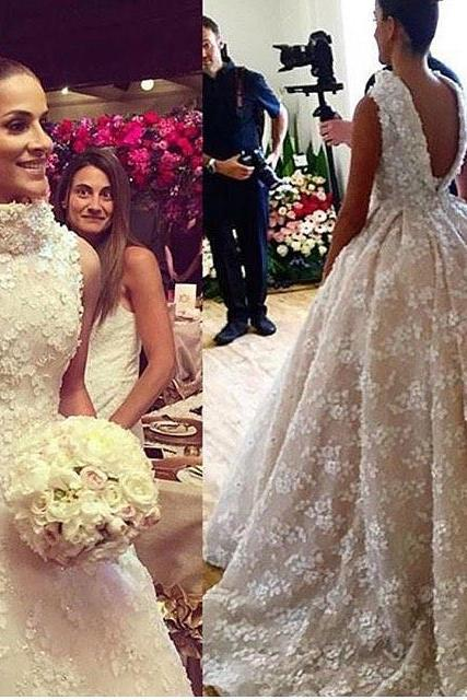Floral Wedding Ball Gown,Backless Prom Dress,Fashion Bridal Dress,Sexy Party Dress,Custom Made Evening Dress