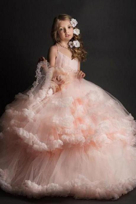 Cloud little flower girls dresses for weddings Baby Party frocks sexy children images Dress kids prom dresses evening gowns 2017 girls prom dance dress