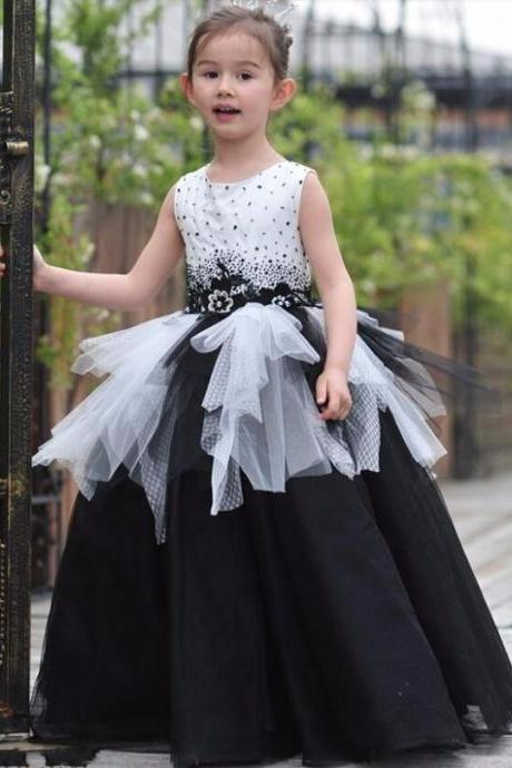 Black & white ball gown, new ball gown, flower girl dress, new flower girl dress, black & white flower girl dress, black & white birthday dress, children ball gown, little girl ball gown