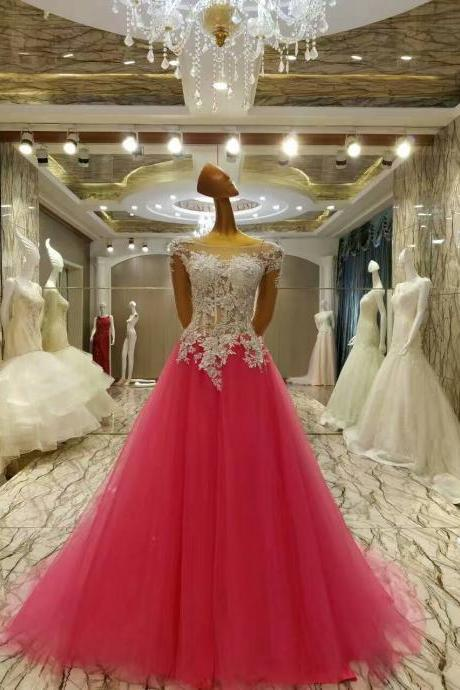 Rose Red Ball Gown Prom Dresses Romantic Long Sleeves Prom Gowns