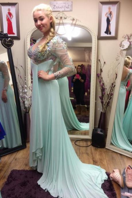 Open Back Mermaid Chiffon Prom Dresses Long Sleeves Beaded Women Party Dresses