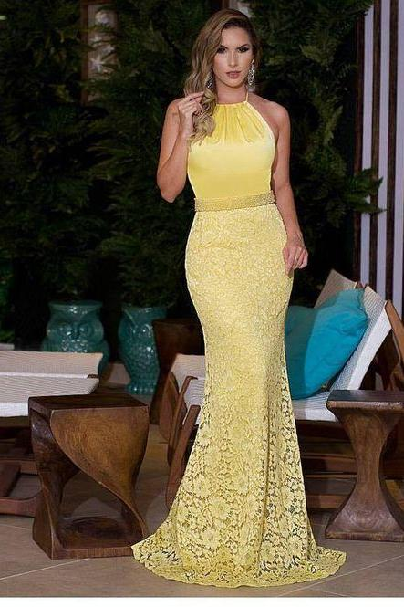 Yellow Mermaid Prom Dress,Fashion Prom Dress,Sexy Party Dress,Custom Made Evening Dress