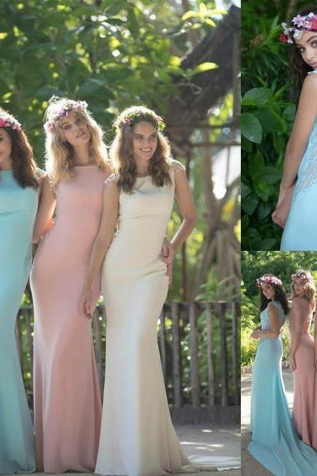 Colorful Bridesmaid Dresses ,Simple Bridesmaid Dresses ,Open Back with Small Train Bridesmaid Dresses ,Retro Wedding Guest Dresses ,Long Bridesmaid Dresses
