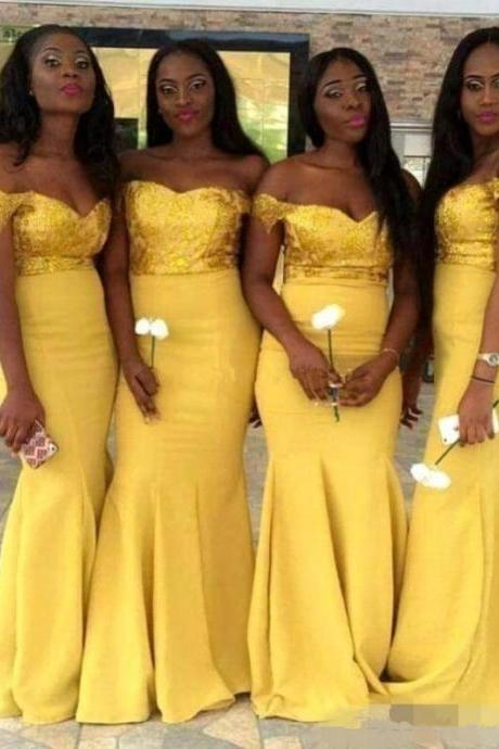 Custom Made Yellow Sequin Off-Shoulder Neckline Long Chiffon Mermaid Bridesmaid Dress