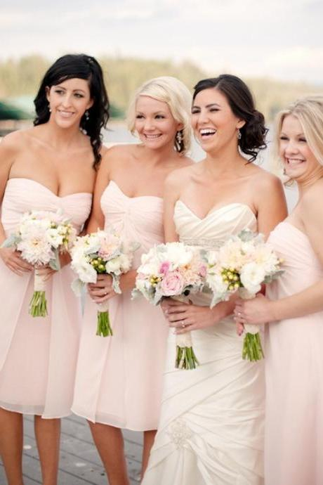 Blus Pink Bridesmaid Dresses,Short Bridesmaids Dresses,Sweetheart Wedding Guest Dress,Formal Party Dress