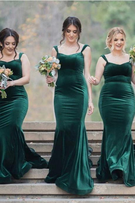 sweetheart bridesmaid dresses long velvet formal evening gowns 2017 emerald green spaghetti straps mermaid long wedding party dress