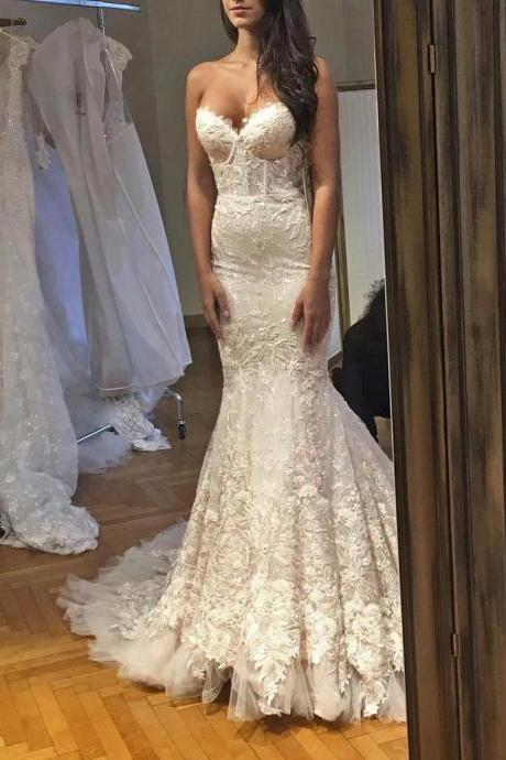 Strapless Sweetheart Lace Appliqués Mermaid Wedding Dress with Long Train and Corset Bodice
