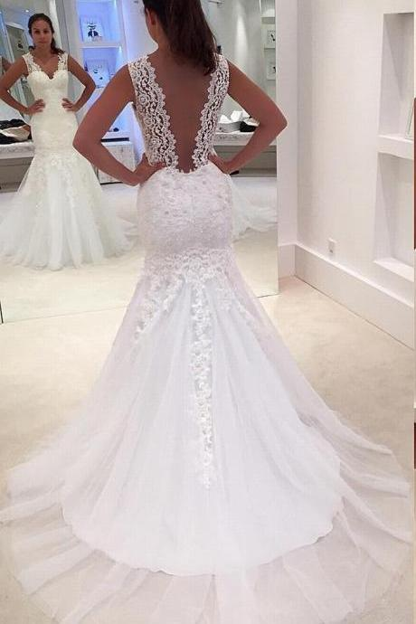 Sleeveless V-Neck Lace Appliqués Mermaid Wedding Dress Featuring V-Back