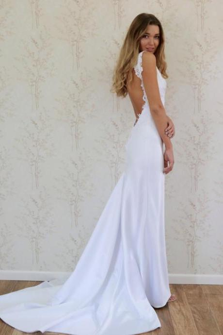 V-Neck Sleeveless Lace Appliqués Satin Mermaid Wedding Dress Featuring Open Back