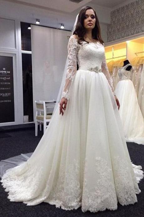 Wedding Dress, Lace Wedding Dress, Plus Size Wedding Dresses, Long Sleeve Wedding Dress, Scoop Wedding Dress, Bridal Gown with White, Hot Sale Wedding Dress, High Quality Wedding Dress