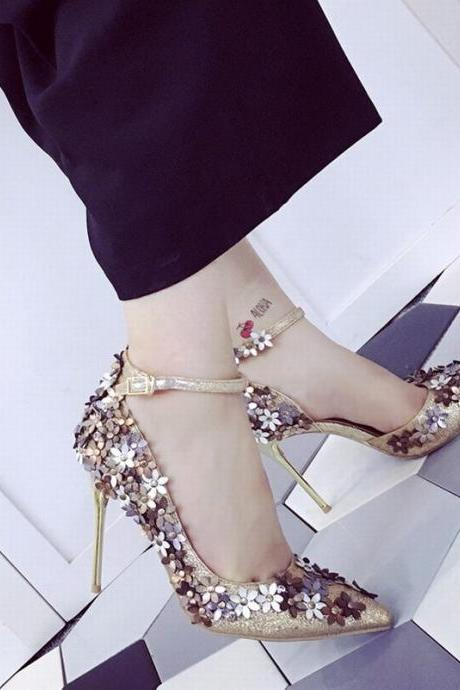 Glittery Pointed Toe High Heel Pumps with Floral Applique, Bridal Shoes