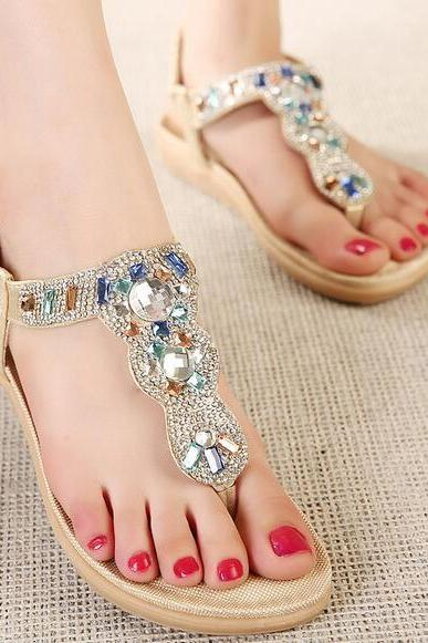 2017 new Korean version of sandals rhinestone sandals shoes sandals