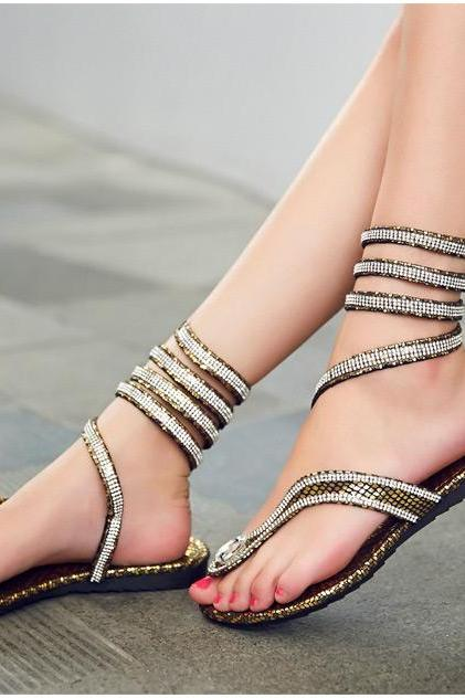 Rhinestone Gladiator Sandals in Gold and Silver