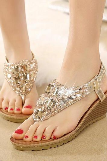 Bohemia slope with European and American women's rhinestone sandals sandals