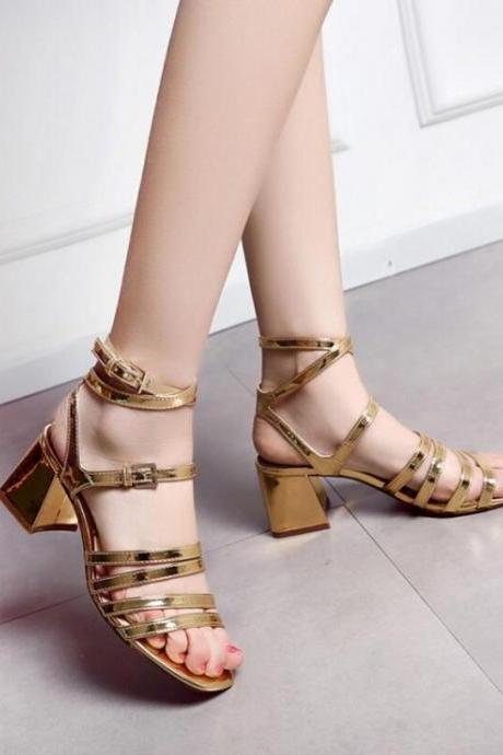 Open-Toe Strappy Gladiator Chunky Heels